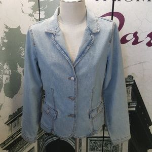 CAbi Lightwash Denim Jacket Size 10